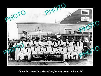 OLD LARGE HISTORIC PHOTO OF FLORAL PARK NEW YORK FIRE DEPARTMENT STATION c1940