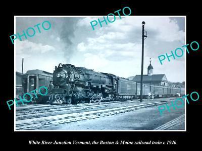 Old Large Historic Photo Of White River Junction Vermont B&m Railroad Train 1940