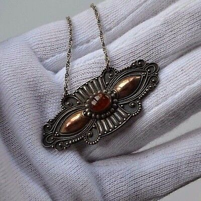 large Art Deco textured silver 925 gold Baltic amber cabochon pendant necklace