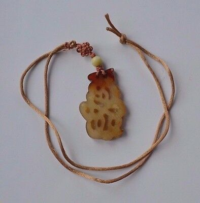 Hand carved Antique Chinese Sign Character red & yellow Jade pendant necklace