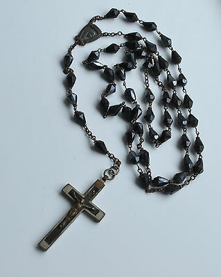 Antique Victorian 1880's Catholic Rosary Signed Germany French Black Jet Glass