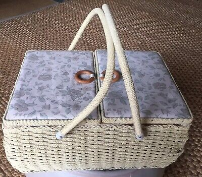 Vintage Sewing Basket W/Lift Out Tray Ornate Cane Fab!! Cond Post P/U Gold Coast