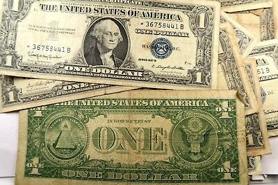 (5) 1935/1957 One Dollar Silver Certificate Lot// *STAR NOTE* // Avg. Circulated
