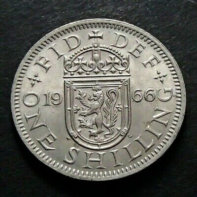 1966 About Uncirculated Great Britain UK Scottish Crest One Shilling Coin - 325