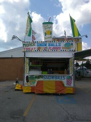 Shaved Ice & Lemonade Concession Trailer,Carnival,Amusement,Food,Drink,Snow Ball