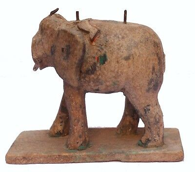 Indian Old Vintage / Antique Hand Made Wooden Elephant Statue Decorative Wd 200