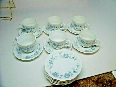 BAVARIAN BLUE CHRISTINA Porcelain Seltmann Weiden W.Germany 6 CUPS & 11 SAUCERS