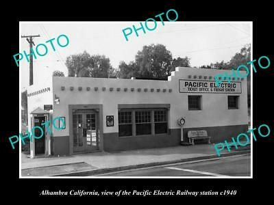 Old Historic Photo Of Alhambra California, Pacific Electric Railway Station 1940