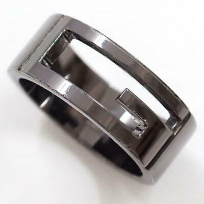 e60cbd312 Jewelry GUCCI Silver Black Plating Ring 14Japan size Free shipping Used