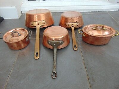 Lot 5 Quality Vintage French Copper Windsor Flared Saucepans + Casserole Pans