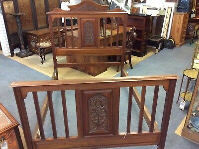 Edwardian Carved Double Bed With Extended Side Rails