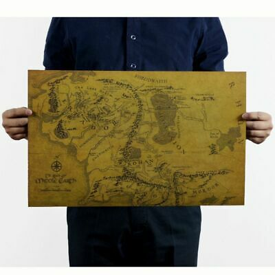 Lord of The Rings Middle Earth Vintage Map Poster Garage Wall Decor Retro Print