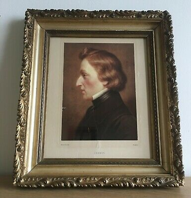 Antique Ornate Gold Gilt Picture Frame with Print of Chopin. 38.5cm x 33cm
