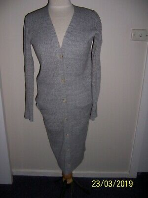 Country Road Grey Ribbed Long Line Cardigan Size Small