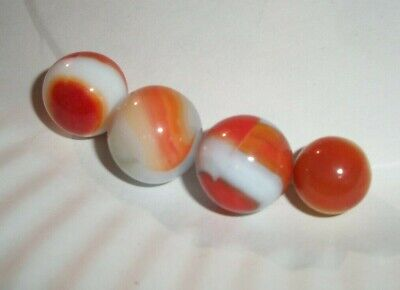 ESTATE Find lot of 4 vintage Marble Clear White Orange Swirl Glass Old lot #2