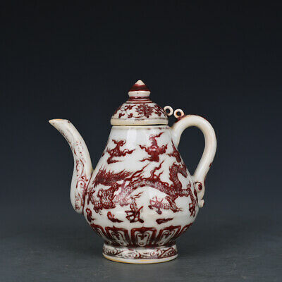 """6"""" Fine Chinese old Porcelain Ming yongle Underglaze red dragon Teapot"""