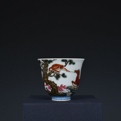 Fine Chinese old Porcelain yongzheng mark famille rose Horse Monkey teacup