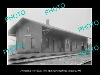 OLD LARGE HISTORIC PHOTO OF FRIENDSHIP NEW YORK, ERIE RAILROAD STATION c1910 1