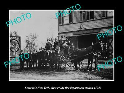 OLD LARGE HISTORIC PHOTO OF SCARSDALE NEW YORK, FIRE DEPARTMENT STATION c1900