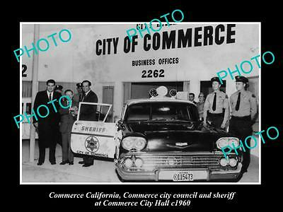 OLD LARGE HISTORIC PHOTO OF COMMERCE CALIFORNIA, THE POLICE & CITY HALL c1960