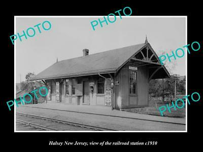 OLD LARGE HISTORIC PHOTO OF HALSEY NEW JERSEY, ERIE RAILROAD STATION c1910 1