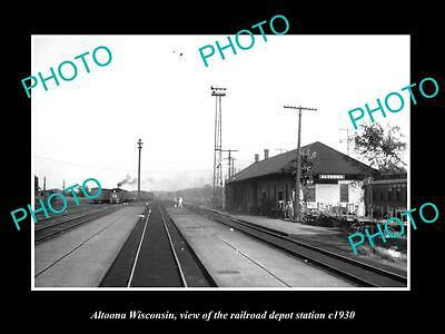 OLD LARGE HISTORIC PHOTO OF ALTOONA WISCONSIN, THE RAILROAD DEPOT STATION c1930