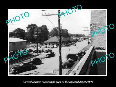 Old Large Historic Photo Of Crystal Springs Mississippi, The Railroad Depot 1940