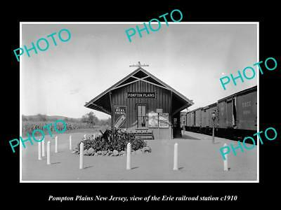 OLD HISTORIC PHOTO OF POMPTON PLAINS NEW JERSEY, ERIE RAILROAD STATION c1910 2