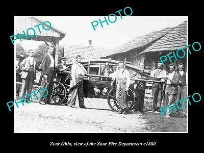 OLD LARGE HISTORIC PHOTO OF ZOAR OHIO, VIEW OF THE ZOAR FIRE DEPARTMENT c1880