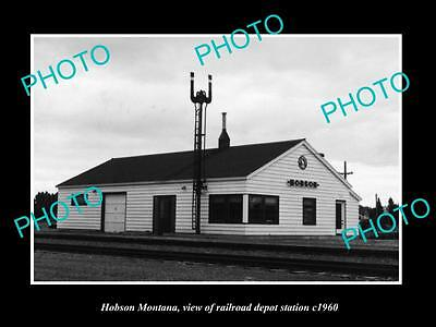 OLD LARGE HISTORIC PHOTO OF HOBSON MONTANA, THE RAILROAD DEPOT STATION c1960
