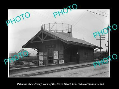 OLD LARGE HISTORIC PHOTO OF PATERSON NEW JERSEY, RIVER RAILROAD STATION c1910 1