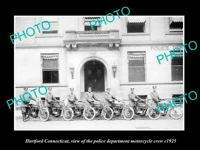 OLD LARGE HISTORIC PHOTO OF HARTFORD CONNECTICUT, POLICE MOTORCYCLE CREW c1925