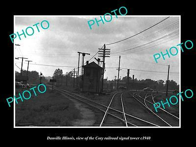OLD LARGE HISTORIC PHOTO OF DANVILLE ILLINOIS, THE CORY RAILROAD TOWER c1940