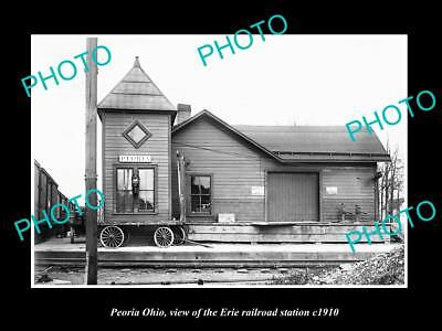 OLD LARGE HISTORIC PHOTO OF PEORIA OHIO, THE ERIE RAILROAD STATION c1910