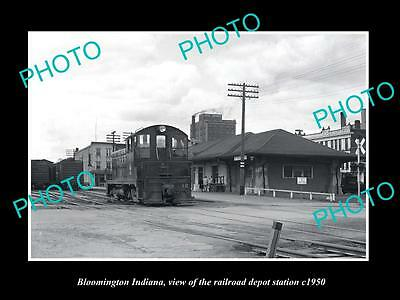Old Large Historic Photo Of Bloomington Indiana, The Railroad Depot Station 1950