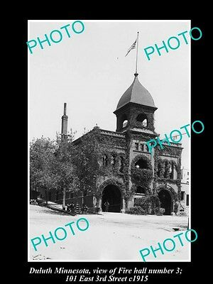 OLD LARGE HISTORIC PHOTO DULUTH MINNESOTA, VIEW OF THE FIRE STATION No 3 c1915