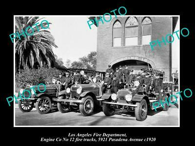 OLD LARGE HISTORIC PHOTO OF LOS ANGELES FIRE DEPARTMENT, ENGINE Co 12 TRUCK 1920