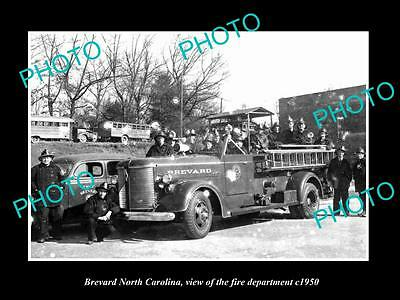 OLD LARGE HISTORIC PHOTO OF BREVARD NORTH CAROLINA, THE FIRE DEPARTMENT c1950