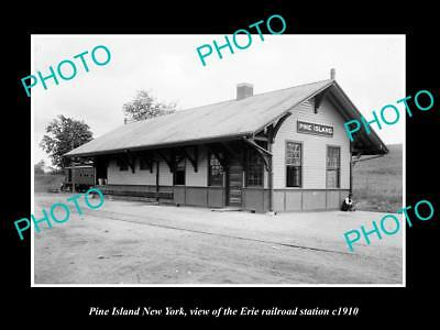 OLD LARGE HISTORIC PHOTO OF PINE ISLAND NEW YORK, ERIE RAILROAD STATION c1910 2