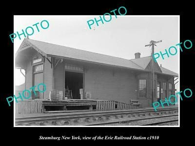 OLD LARGE HISTORIC PHOTO OF STEAMBURG NEW YORK, ERIE RAILROAD STATION c1910