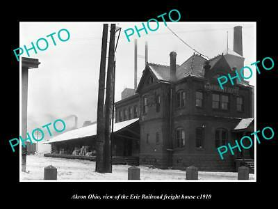 OLD LARGE HISTORIC PHOTO OF AKRON OHIO, THE ERIE RAILROAD FREIGHT DEPOT c1910