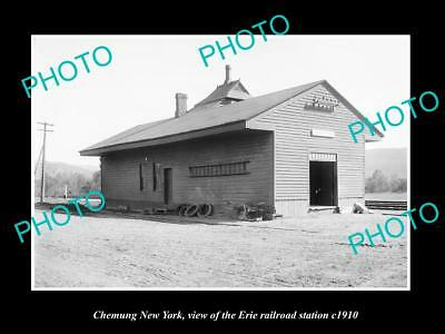 OLD LARGE HISTORIC PHOTO OF CHEMUNG NEW YORK, ERIE RAILROAD STATION c1910 2