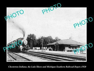 OLD LARGE HISTORIC PHOTO OF CHESTERTON INDIANA, THE LS&MS RAILROAD DEPOT c1920