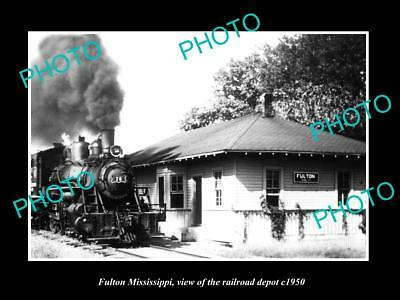 OLD LARGE HISTORIC PHOTO OF FULTON MISSISSIPPI, THE RAILROAD DEPOT c1950