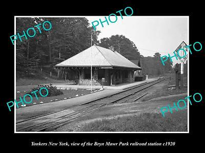OLD LARGE HISTORIC PHOTO OF YONKERS NEW YORK, BRYN MAWR RAILROAD STATION c1920