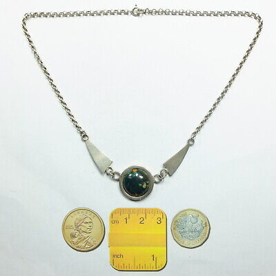 Antique Art Deco Style Czech Glass Cabochon & Silver Chain/ Necklace