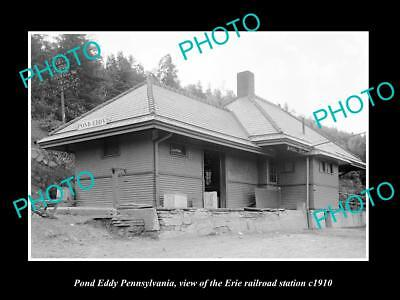 Old Large Historic Photo Of Pond Eddy Pennsylvania, Erie Railroad Station 1910 3