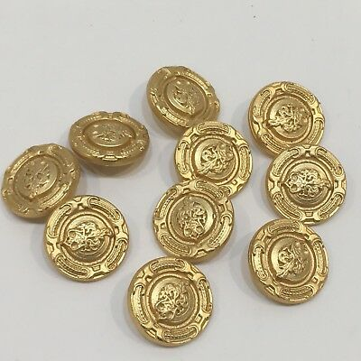 """Unbranded 10 BRASS MILITARY BUTTONS w/Crown Back Shank 12/16"""""""