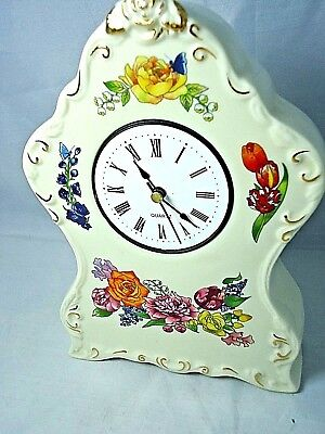 """Clock Case Ceramic Floral Battery Clock Missing Crystal,7 1/4"""" Tall X 5"""" Wide"""