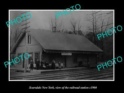 OLD LARGE HISTORIC PHOTO OF SCARSDALE NEW YORK, THE RAILROAD STATION c1900